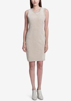 Calvin Klein Faux-Suede-Front Sheath Dress