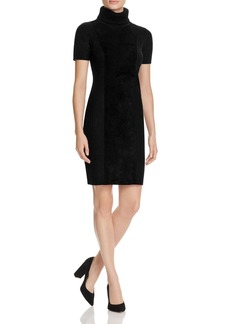Calvin Klein Faux Suede Front Turtleneck Dress