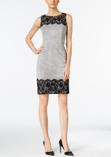 Calvin Klein Faux-Suede Lace-Trim Sheath Dress