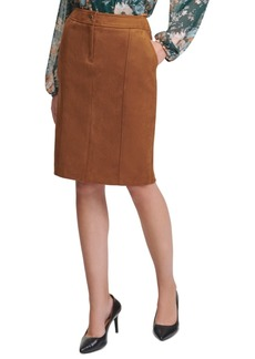 Calvin Klein Faux-Suede Pencil Skirt