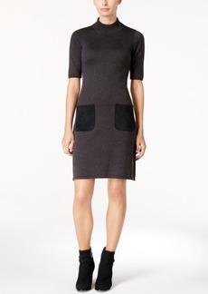 Calvin Klein Faux-Suede-Pocket Sweater Dress