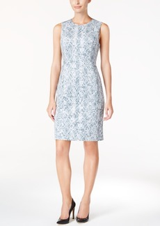 Calvin Klein Faux-Suede Printed Sheath Dress
