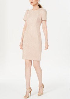 Calvin Klein Faux-Suede Scuba Sheath Dress