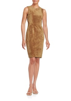 CALVIN KLEIN Faux Suede Sheath Dress