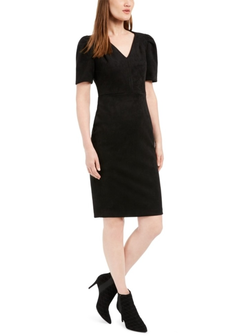 Calvin Klein Faux-Suede Sheath Dress