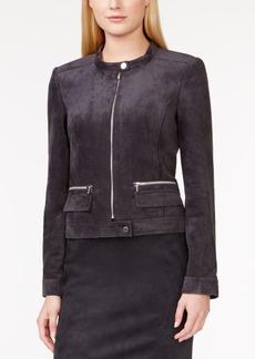 Calvin Klein Faux-Suede Zip-Front Moto Jacket