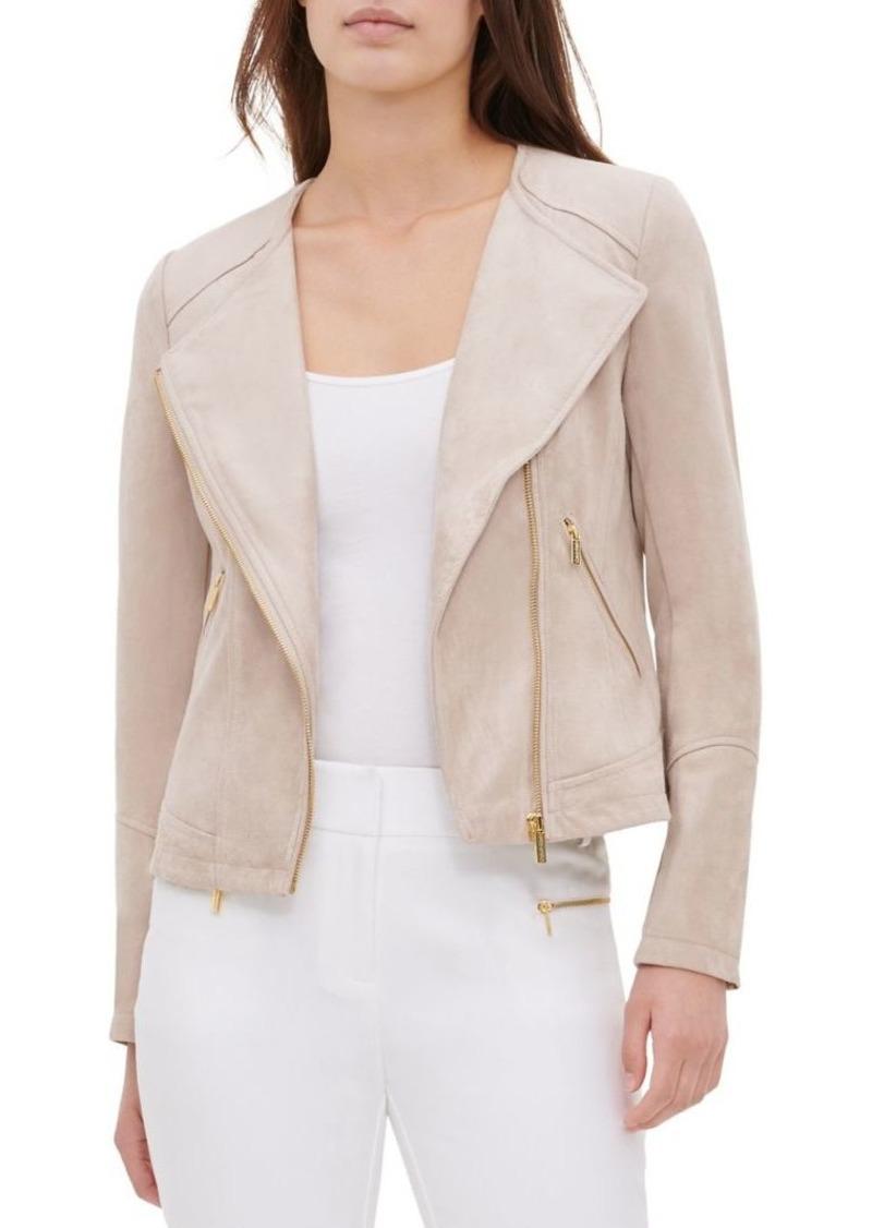 Calvin Klein Faux Suede Zip Moto Jacket