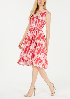 Calvin Klein Faux-Wrap Printed A-Line Dress
