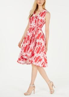 Calvin Klein Faux-Wrap Printed A-Line Dress