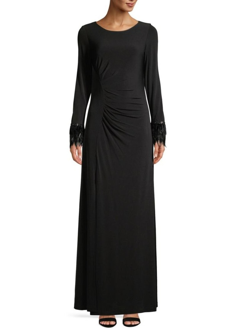 Calvin Klein Feather-Cuffs Ruched Evening Gown