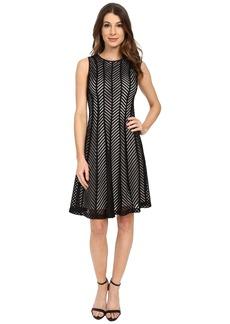 Calvin Klein Fit & Flare Mesh Stripe Dress
