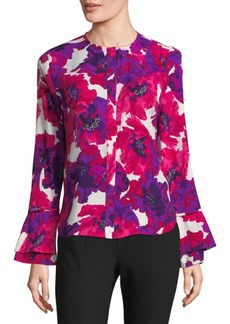 Calvin Klein Flared-Sleeve Floral Top