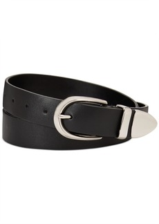 Calvin Klein Flat Strap Leather Belt With Metal Tip