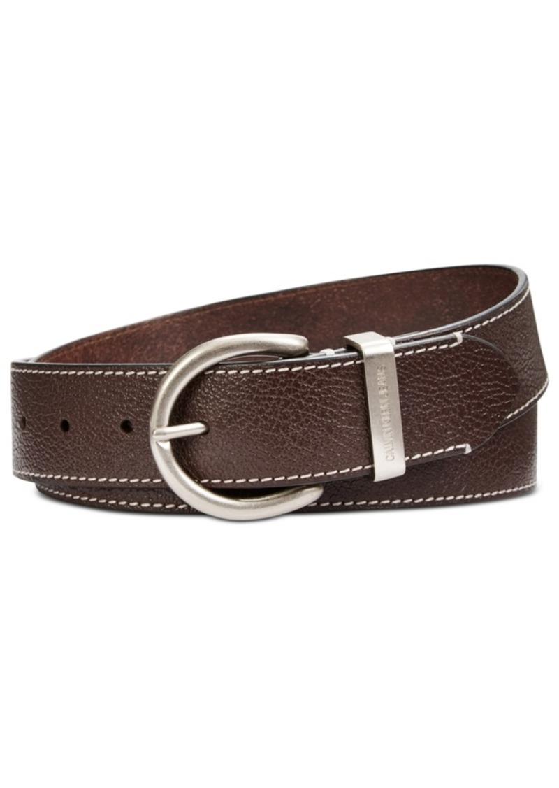 Calvin Klein Flat-Strap Leather Belt with Stitching