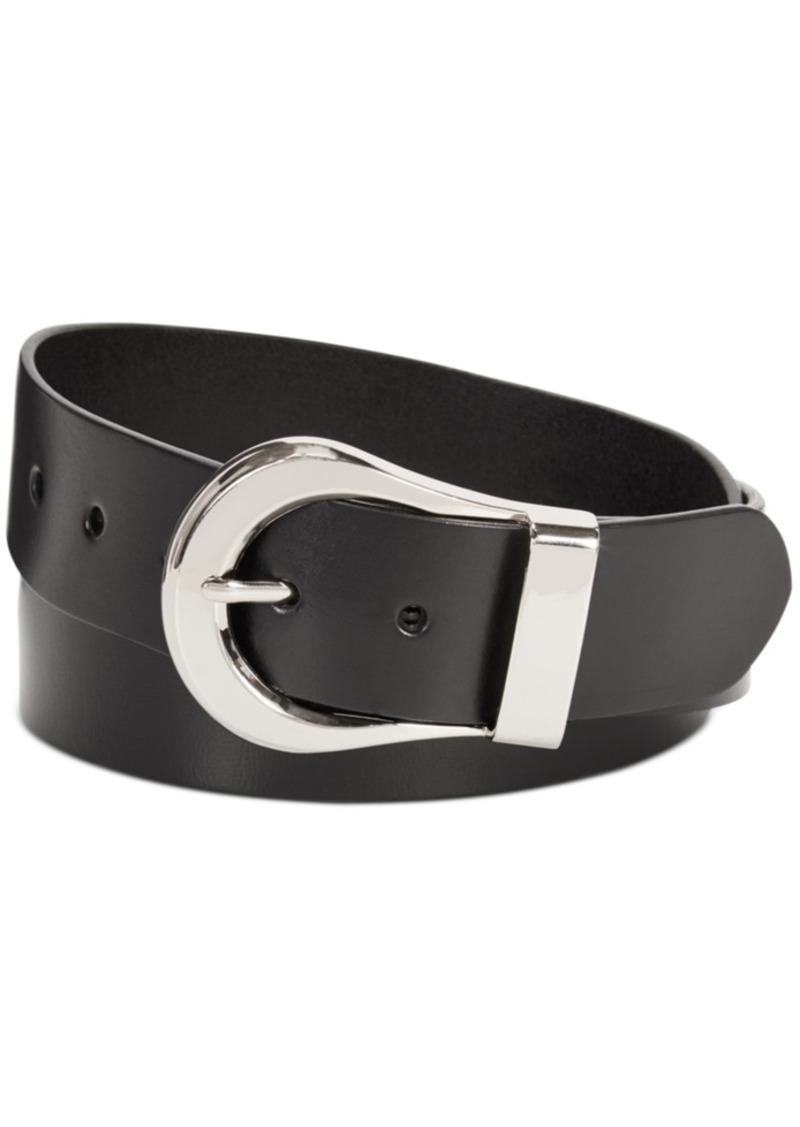 Calvin Klein Flat-Strap Statement Buckle Leather Belt