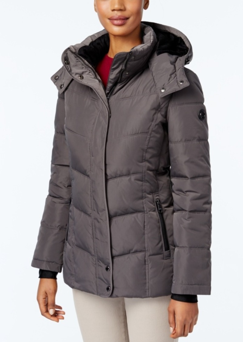 Calvin Klein Fleece-Lined Water-Resistant Hooded Puffer Coat