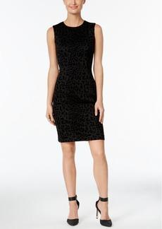 Calvin Klein Flocked Animal-Print Sheath Dress