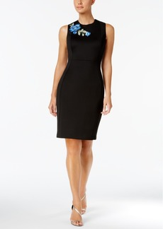 Calvin Klein Floral-Applique Scuba Sheath Dress