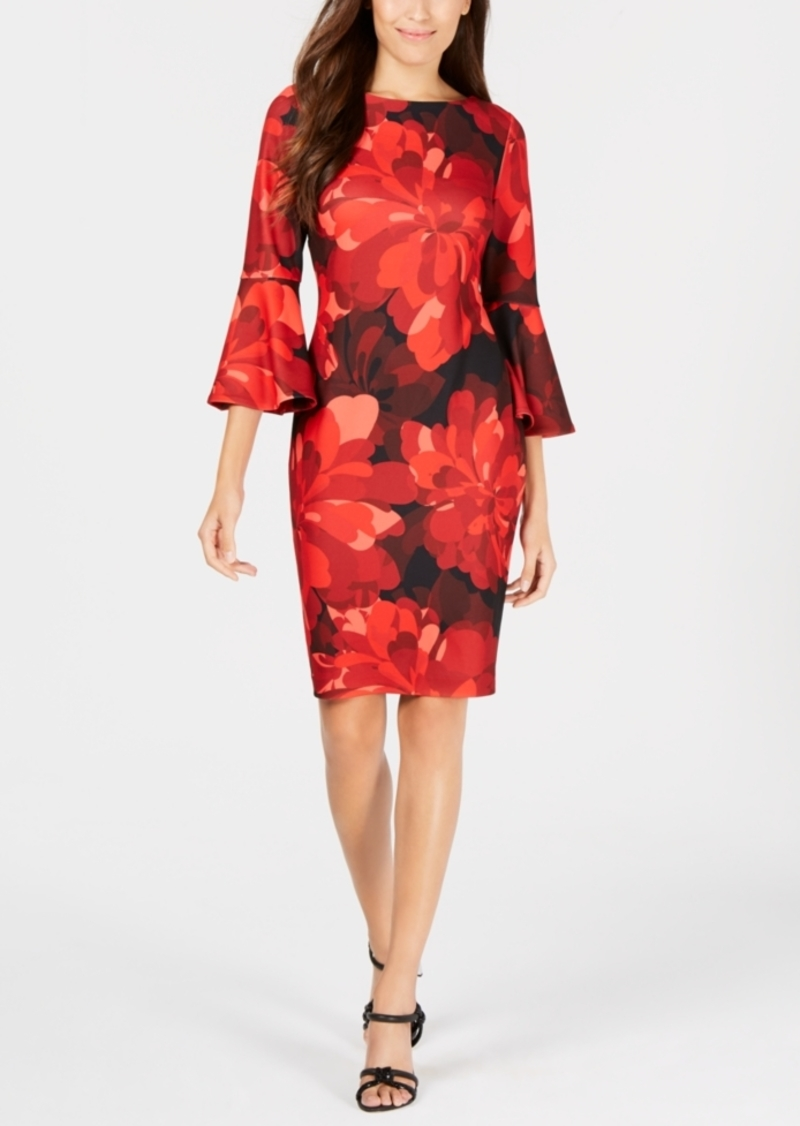 Calvin Klein Floral Bell-Sleeve Sheath Dress