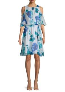 Floral Chiffon Cold-Shoulder Dress