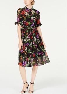 Calvin Klein Floral Chiffon Shirtdress
