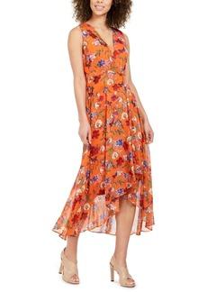 Calvin Klein Floral Chiffon Surplice Midi Dress