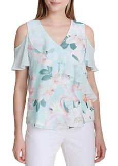 Calvin Klein Floral Cold-Shoulder Ruffle Blouse