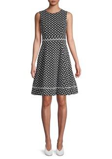Calvin Klein Floral Lace-Trim Fit-&-Flare Dress