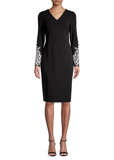 Calvin Klein Floral Embroidered Long Sleeve Sheath Dress