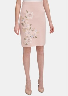 Calvin Klein Floral-Embroidered Pencil Skirt