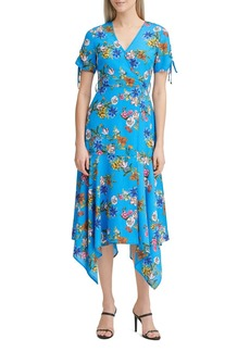 Calvin Klein Floral Handkerchief-Hem Dress