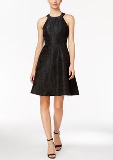 Calvin Klein Floral Jacquard Halter Dress
