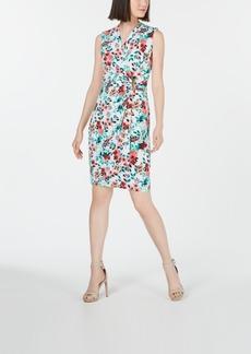 Calvin Klein Embellished Jersey Wrap Dress