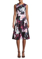 Calvin Klein Floral Knee-Length A-Line Dress