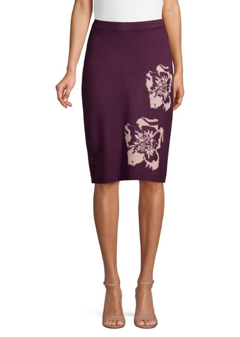 Calvin Klein Floral Knit Pencil Skirt