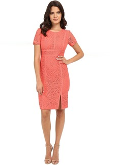 Calvin Klein Floral Lace Cap Sleeve Sheath Dress