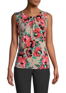 Calvin Klein Floral Pleat-Neck Sleeveless Blouse