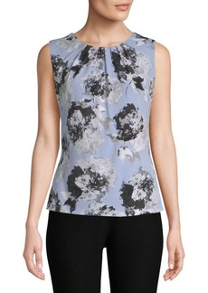 Calvin Klein Floral Pleated Blouse
