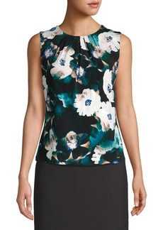 Calvin Klein Floral Pleated Sleeveless Blouse