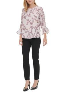 Calvin Klein Floral-Print 3/4-Sleeve Blouse