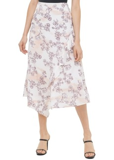 Calvin Klein Floral-Print Asymmetrical Skirt