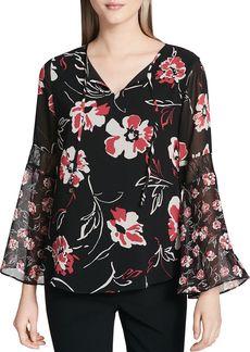 Calvin Klein Floral Print Bell Sleeve Blouse