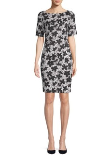 Calvin Klein Floral-Print Boatneck Mini Dress
