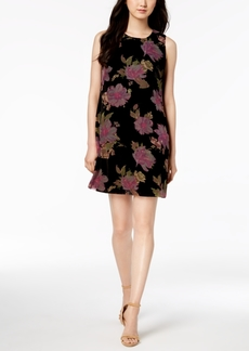 Calvin Klein Floral-Print Burnout Velvet Shift Dress
