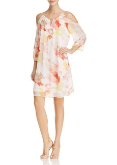 Calvin Klein Floral Print Cold Shoulder Dress