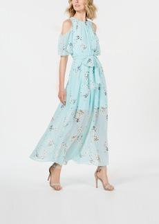 Calvin Klein Floral-Print Cold-Shoulder Maxi Dress