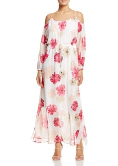 Calvin Klein Floral Print Cold-Shoulder Maxi Dress