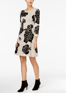 Calvin Klein Floral-Print Fit & Flare Sweater Dress
