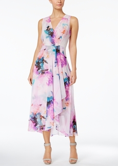 Calvin Klein Floral-Print High-Low Midi Dress