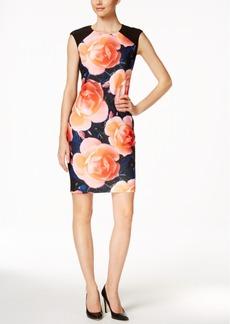 Calvin Klein Floral-Print-Inset Sheath Dress